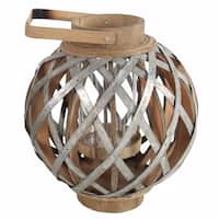 Wood and Metal Round Shanghai Lantern, Silver and Brown