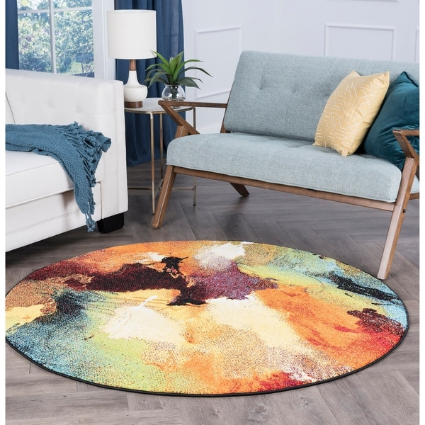 Alise Rugs Avdel Contemporary Abstract Round Area Rug - multi - 7'10 x 7'10