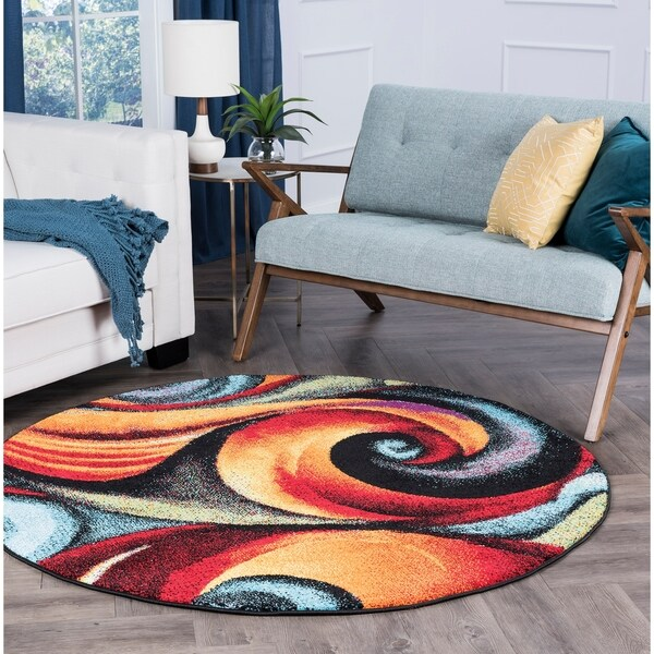 Alise Rugs Rhapsody Contemporary Abstract Round Area Rug - multi - 5'3 x 5'3