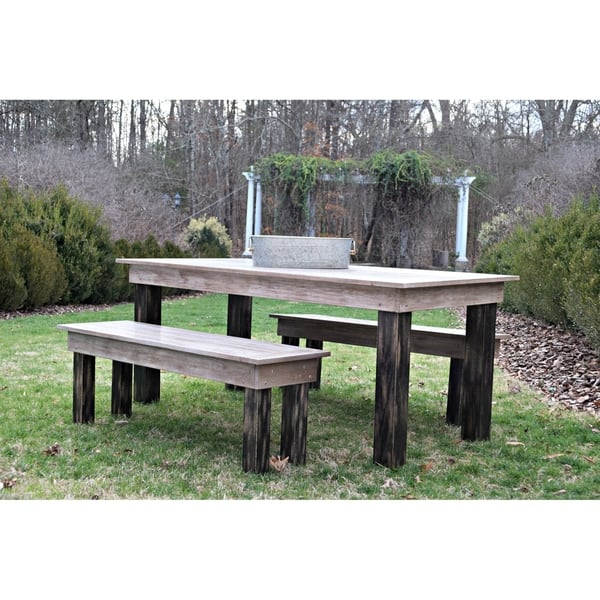 Phenomenal Solid Oak Farm Table And Benches In Black And Antique Finish Theyellowbook Wood Chair Design Ideas Theyellowbookinfo