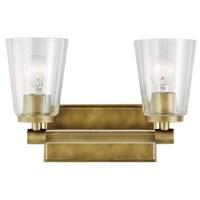 Shop Kichler Lighting Audrea Collection Light Natural Brass Bath - Brass bathroom vanity light fixtures