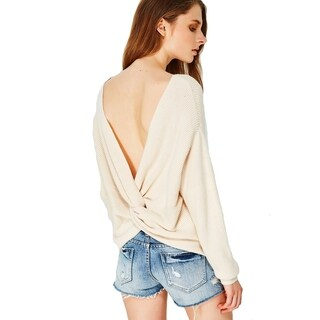 Cupshe Women's Solid Back Cross Casual V Neck Pullover Backless Knitting Sweater