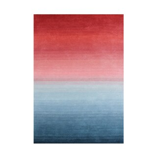 Set the stage to welcome guests into the lobby with this softly blended rug inspired by rising & setting sun on the horizon 8x10