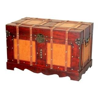 Large Antique Style Steamer Trunk, Decorative Storage Box
