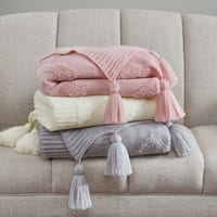 Madison Park Cleo Knitted Chevron Tufted Throw