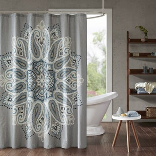 INK+IVY Sky Blue Cotton Printed Shower Curtain