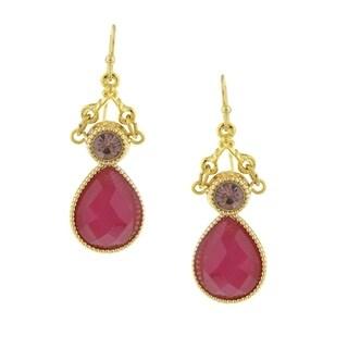1928 Jewelry Gold Tone Fuchsia Teardrop Earrings
