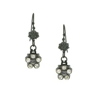 1928 Jewelry Black Tone and Black Diamond Color Crystal Flower Earrings