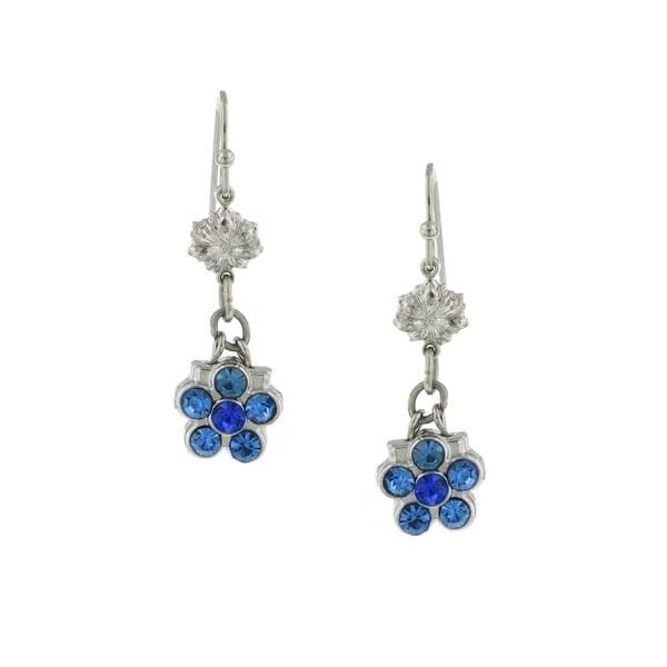 1928 Jewelry Silver Tone Blue Crystal Flower Drop Earrings