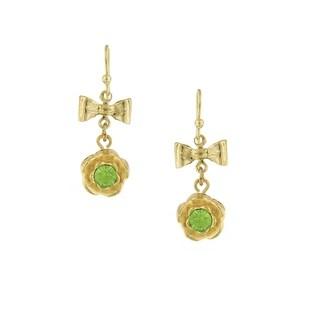 1928 Jewelry Gold Tone Green Bow Flower Drop Earrings