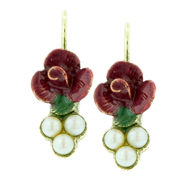 1928 Jewelry Gold Tone Pearl and Fuchsia Enamel Flower Drop Leverback Earrings