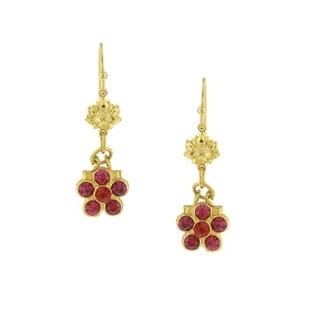 1928 Jewelry Gold Tone Pink Crystal Flower Drop Earrings