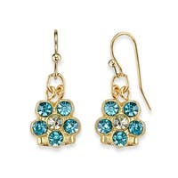 1928 Jewelry Gold Tone Aqua Flower Drop Earrings