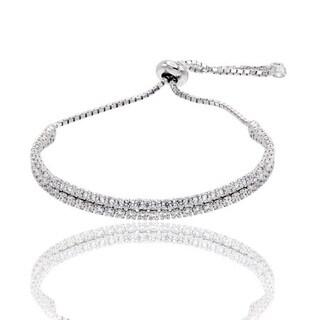 Sterling Silver double-row Cubic Zirconia adjustable bracelet