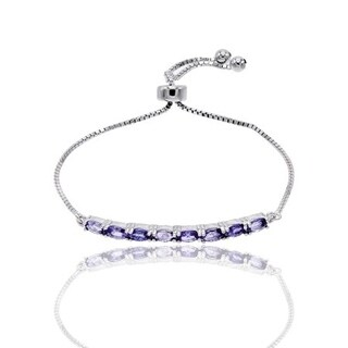 Tanzanite Gemstone Adjustable Bolo Sterling Silver Bracelet