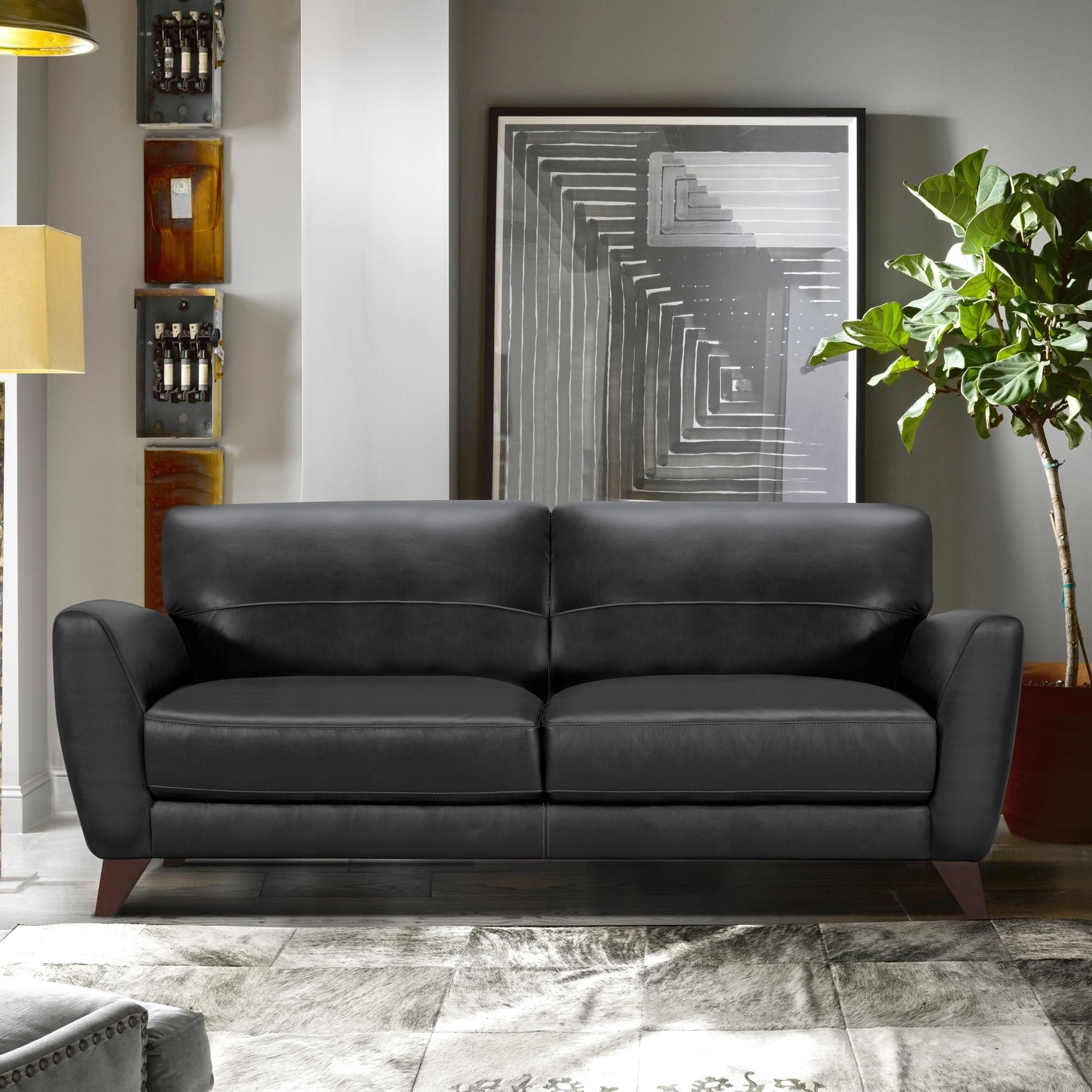 Armen Living Jedd Contemporary Sofa In Genuine Black Leather
