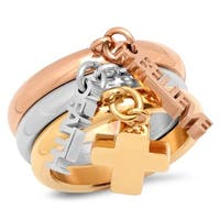 Piatella Ladies Set of 3 Tri-Colored Stainless Steel Rings with BELIEVE, FAITH, and Cross Charms