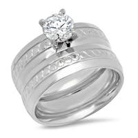 Piatella Ladies Set of 2 Stainless Steel Cubic Zirconia Engagement and Band Rings with Accent in 2 Colors