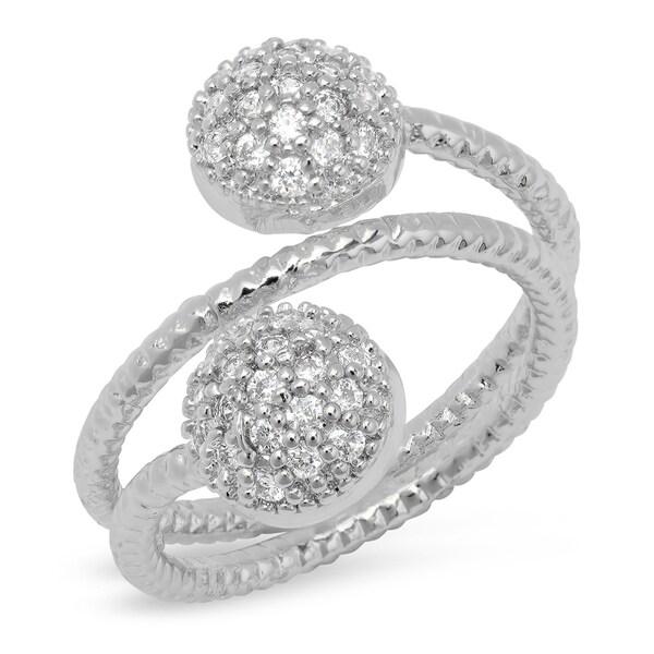 1837261e1 Piatella Ladies Brass Round Cut Cubic Zirconia Wrap Around Ring in 2 Colors
