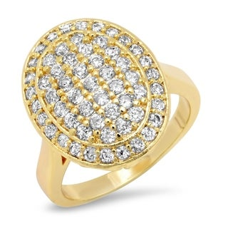 Piatella Ladies Gold Tone Brass Round Cut Cubic Zirconia Oval Ring In 2 Colors