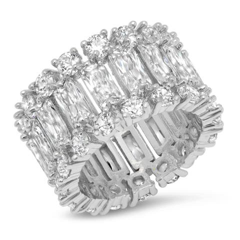 Piatella Ladies Brass Round and Radiant Cut Cubic Zirconia Band Ring in 2 Colors