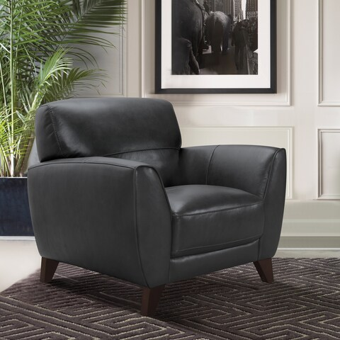 Armen Living Jedd Contemporary Chair in Genuine Black Leather