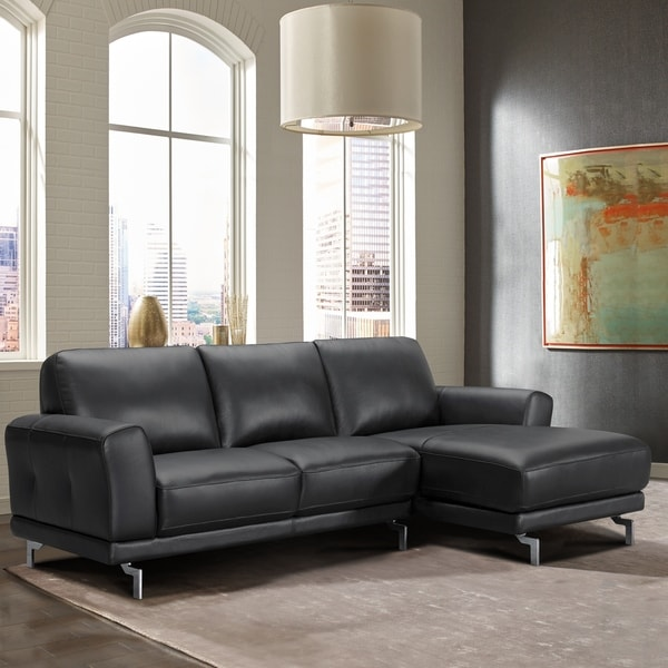 Peachy Armen Living Everly Genuine Black Leather Contemporary Sectional Onthecornerstone Fun Painted Chair Ideas Images Onthecornerstoneorg