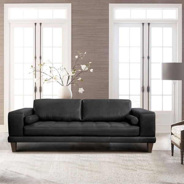Shop Armen Living Wynne Contemporary Sofa in Genuine Black Leather ...