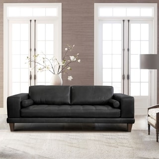 Armen Living Wynne Contemporary Sofa in Genuine Black Leather |  Overstock.com Shopping - The Best Deals on Sofas & Couches