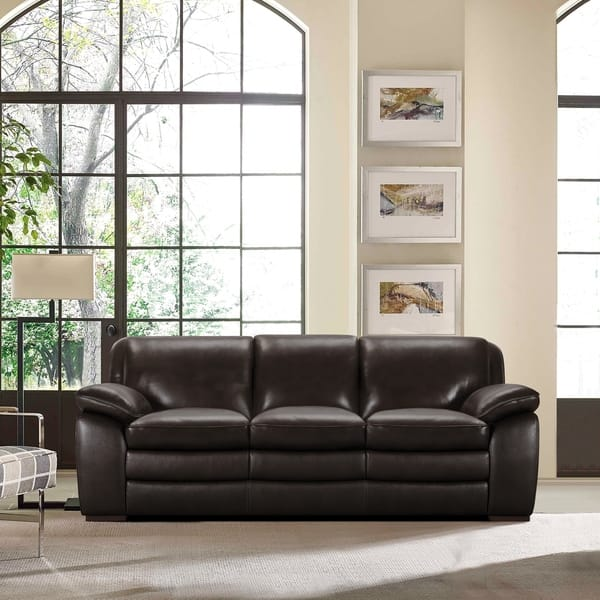 Armen Living Zanna Contemporary Sofa in Genuine Dark Brown Leather