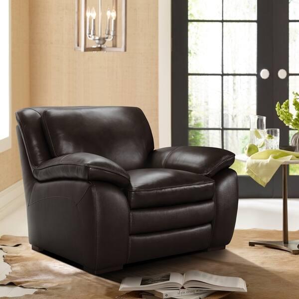 Armen Living Zanna Contemporary Chair in Genuine Dark Brown Leather