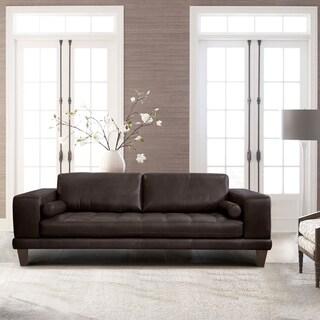 Armen Living Wynne Contemporary Sofa in Genuine Espresso Leather