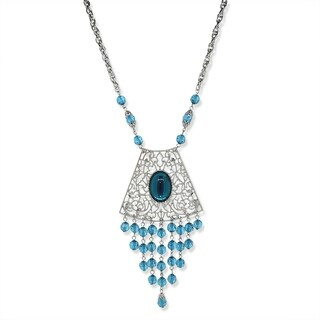 1928 Jewelry Silver Tone Blue Filigree and Drop Shield Necklace 16in Adj.