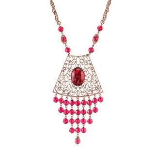 1928 Jewelry Copper Tone Fuchsia Filigree and Drop Shield Necklace 16in Adj.