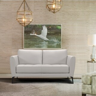 Armen Living Hope Contemporary Loveseat in Genuine Dove Grey Leather