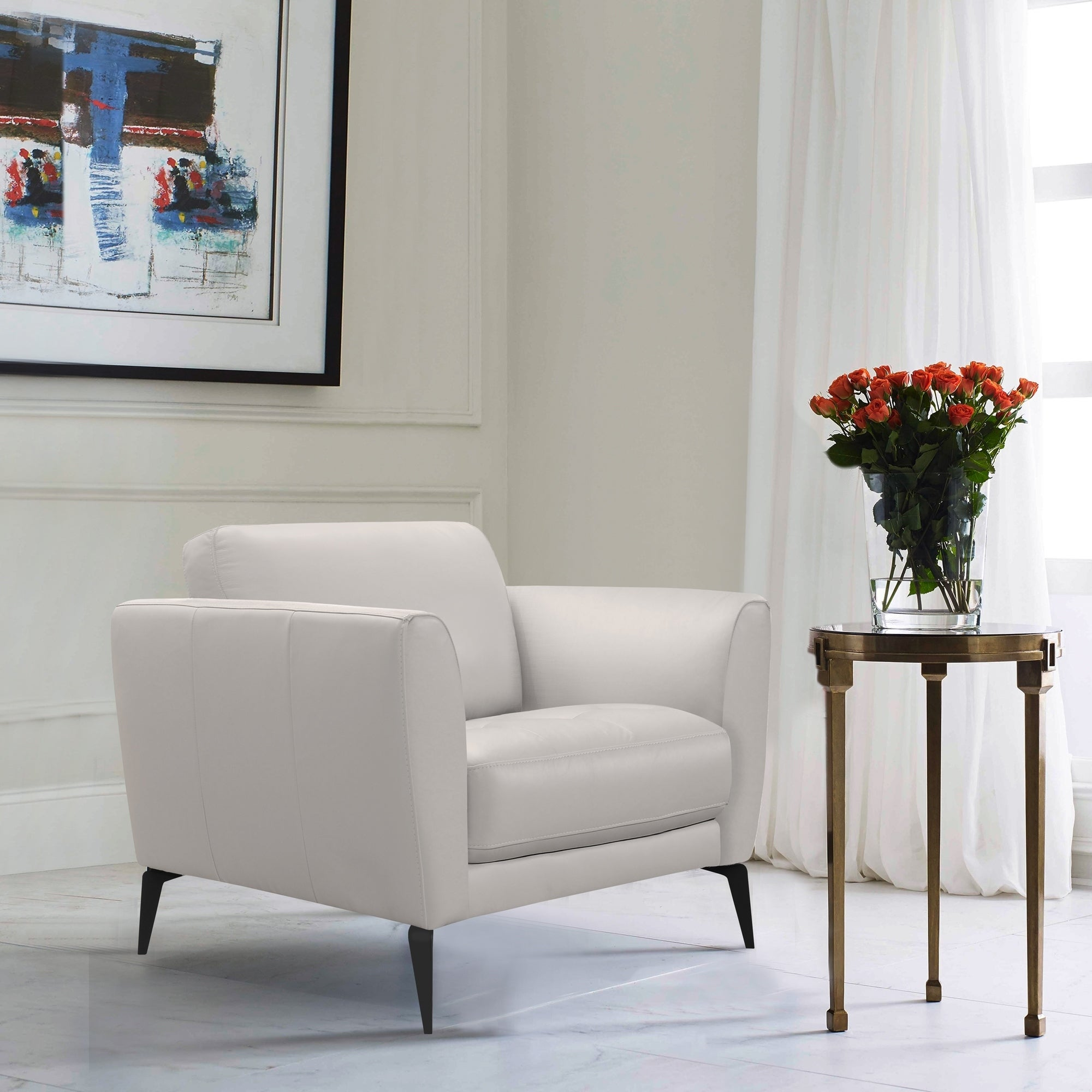 Armen Living Hope Contemporary Chair In Genuine Dove Grey Leather