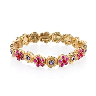 1928 Jewelry Gold Tone Pink Purple Red Flower Stretch Bracelet