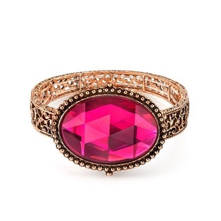 1928 Jewelry Copper Tone Fuchsia Oval Faceted Filigree Stretch Bracelet