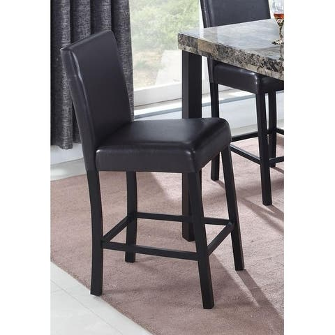 Best Master Furniture CD037 Contemporary Faux Leather Espresso Counter Height Chairs (Set of 2)