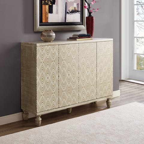 Hand Painted Distressed White Oak Finish Bar and Wine Credenza Cabinet