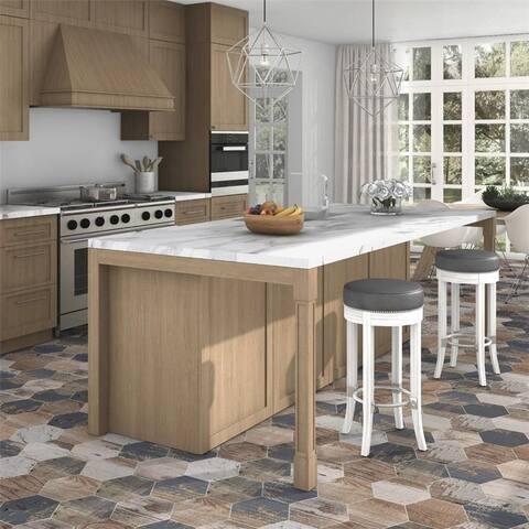 SomerTile 8.63x9.88 inch Avant Hex Catan Shadow Porcelain Floor and Wall Tile (25 tiles/11.56 sqft.)