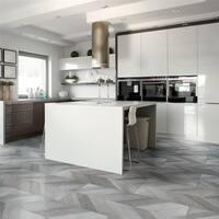 SomerTile 17.625x35.375-inch Agrinio Chevron Gris Porcelain Floor and Wall Tile (12 tiles/53 sqft.)