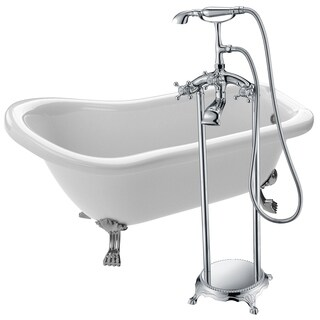 Pegasus 5 ft. Acrylic Clawfoot Soaking Bathtub in White with Tugela Faucet