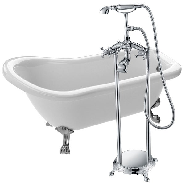 Shop Pegasus 5 ft. Acrylic Clawfoot Soaking Bathtub in White with ...