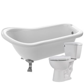 Pegasus 61 in. Acrylic Clawfoot Soaking Bathtub in White with Author 2-piece 1.28 GPF Single Flush Toilet