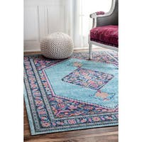 nuLOOM Vintage Persian Border Blue Rug - 3' x 5'