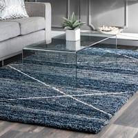 nuLOOM Handmade Diamond Trellis Blue Shag Rug (4' x 6')