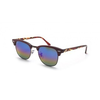 Ray-Ban Clubmaster 3016 1223/C2 Bordeaux Frame Blue Rainbow Flash Lens Sunglasses
