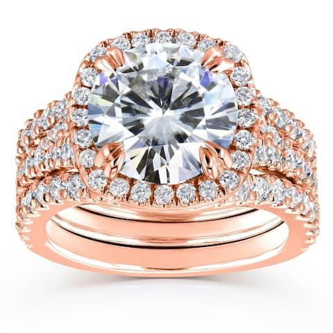 Annello by Kobelli 14k Gold 4 1/3ct TGW Round Moissanite and Diamond Cushion Halo Bridal Wedding Rings Set, 3-pc