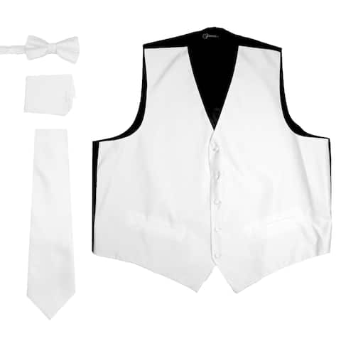 Ferrecci Mens 4 Piece Formal Solid Pattern Vest Set in Many Colors